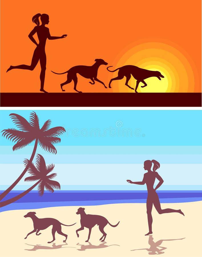 Silhouettes of greyhounds and girl vector illustration