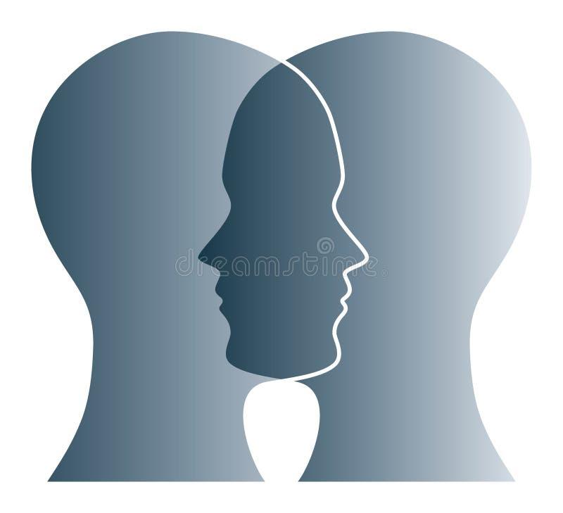 Silhouettes grises de recouvrement de deux têtes au-dessus de blanc illustration stock
