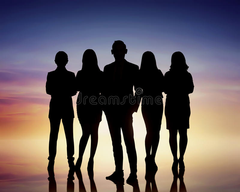 Silhouettes of group business people stock photo