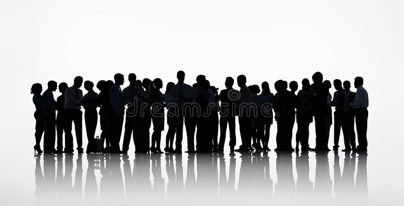 Silhouettes Group of Business People Working stock image