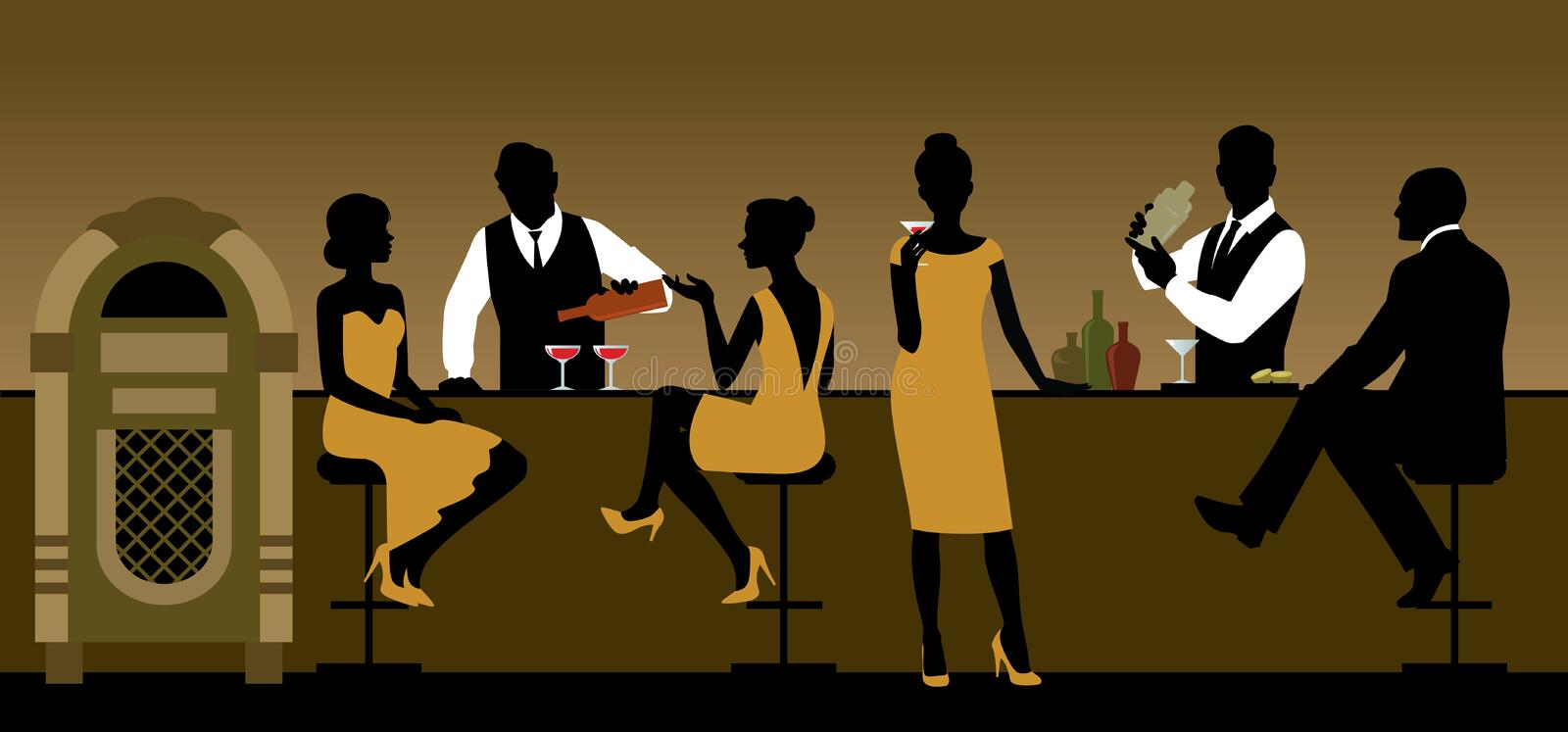 Silhouettes of a group of people drinking in a bar royalty free illustration