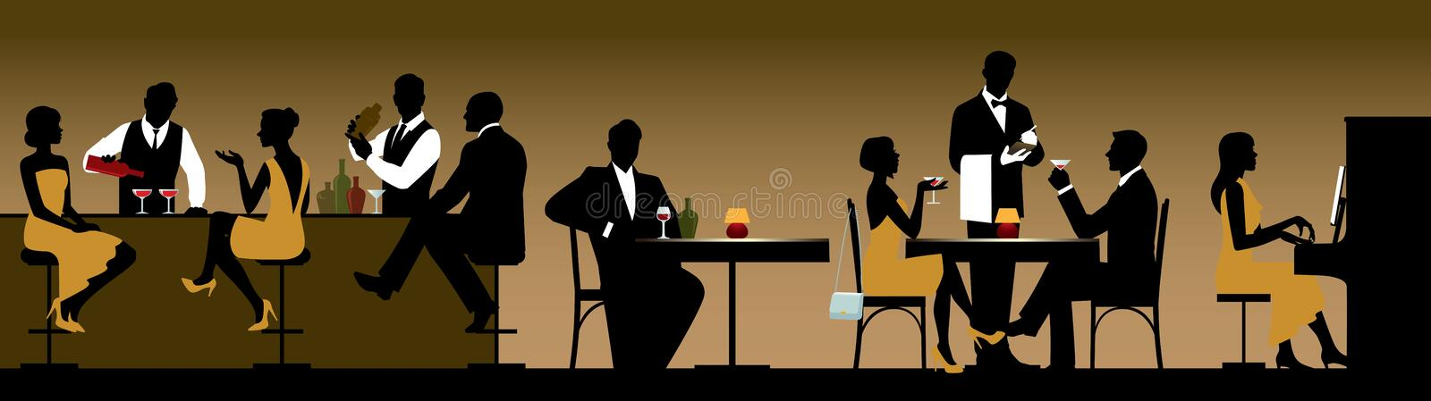 Silhouettes of a group of people holiday makers in a restaurant stock illustration