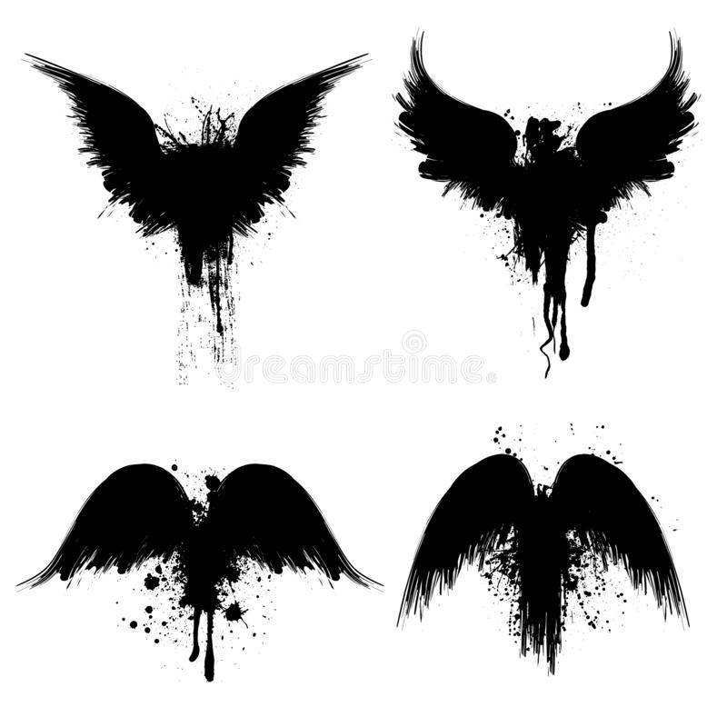 Silhouettes grunges noires illustration stock