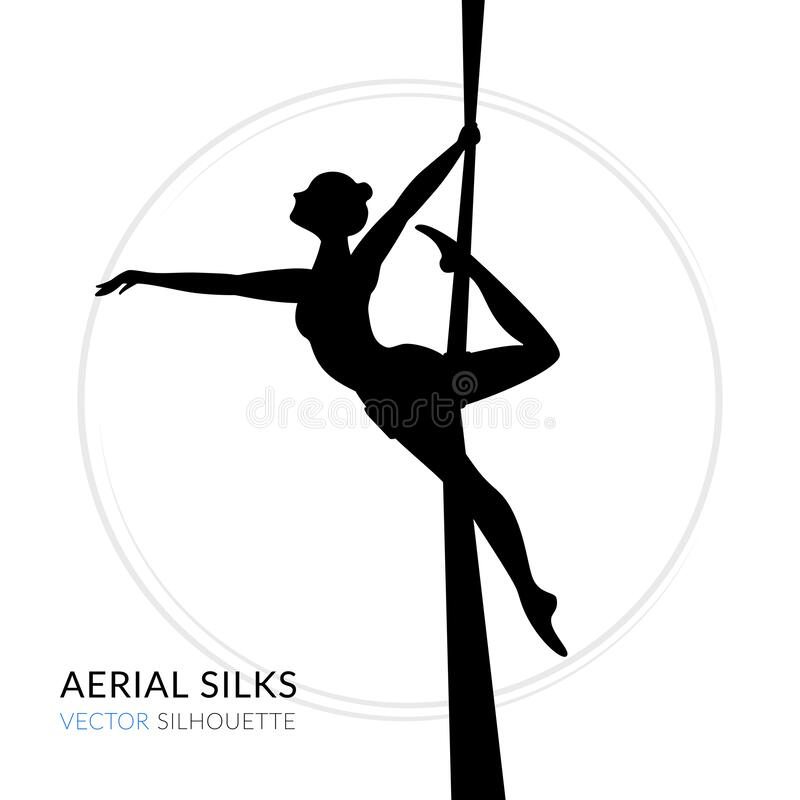 Silhouettes of a gymnast in the aerial silks. Vector illustration on white background. Air gymnastics concept. Logo woman dancer stock illustration