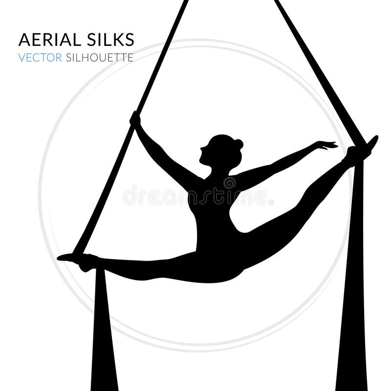 WebSilhouettes of a gymnast in the aerial silks. Vector illustration on white background. Air gymnastics concept. Silhouettes of a gymnast in the aerial silks royalty free illustration