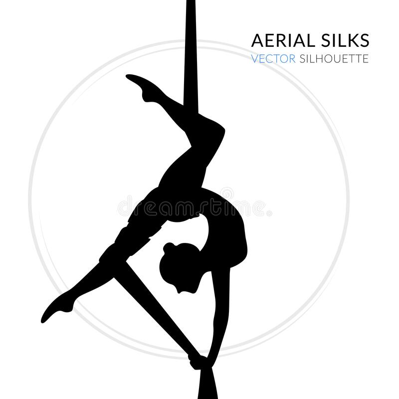 WebSilhouettes of a gymnast in the aerial silks. Vector illustration on white background. Air gymnastics concept. Silhouettes of a gymnast in the aerial silks vector illustration