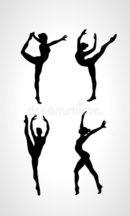 Silhouettes of gymnastic girls. Art gymnastics. Collection 4 Creative silhouettes of gymnastic girls. Art gymnastics set, black and white vector illustration vector illustration