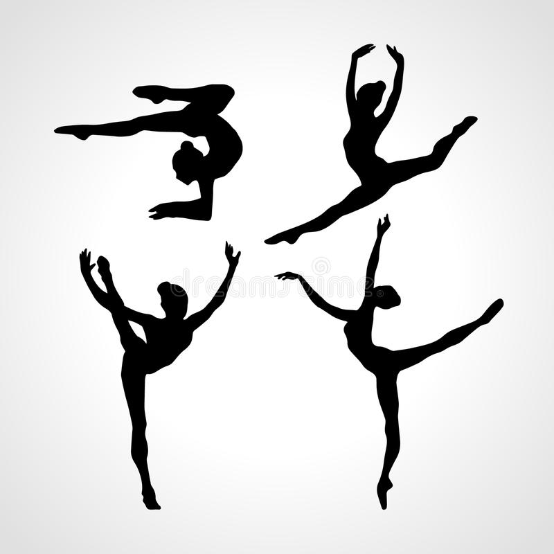 Silhouettes of gymnastic girls. Art gymnastics vector set. Collection 4 Creative silhouettes of gymnastic girls. Art gymnastics set, black and white vector stock illustration