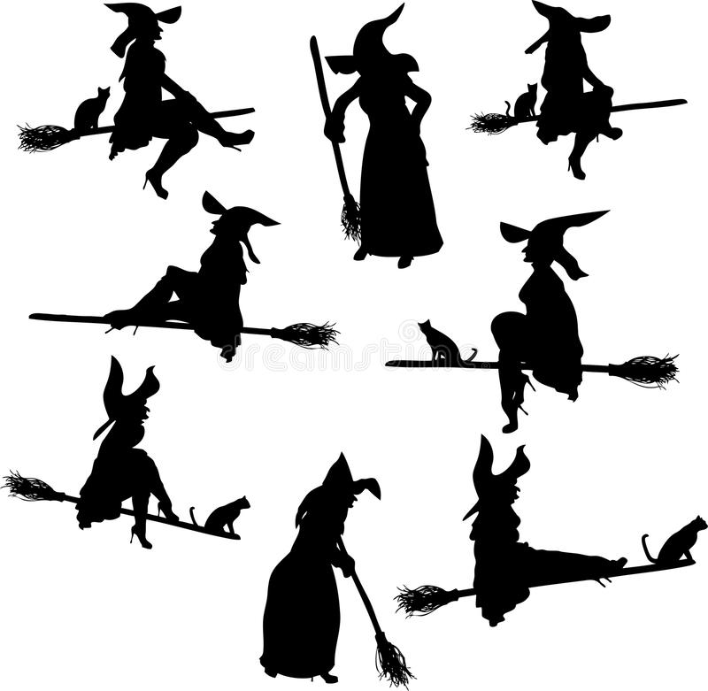 silhouettes häxan royaltyfri illustrationer