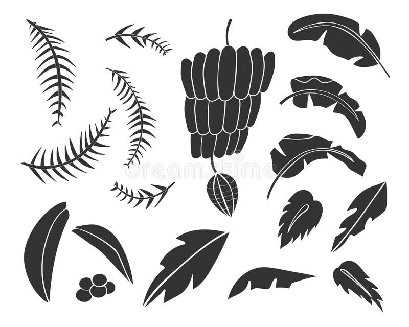 Silhouettes of hand drawn palms trees. royalty free illustration
