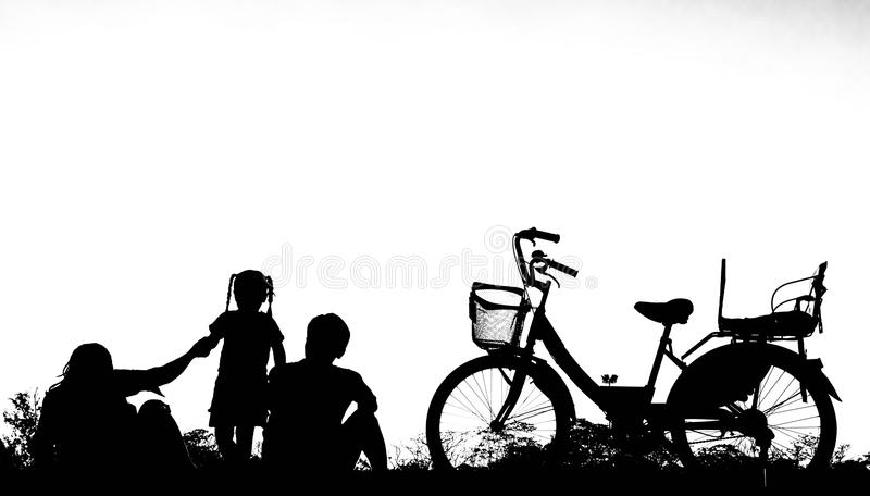 Silhouettes of happy families on white background. Concept of fr. Iendly family royalty free stock images