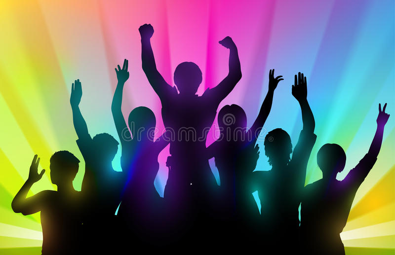 Silhouettes of happy people with hands up on color background vector illustration