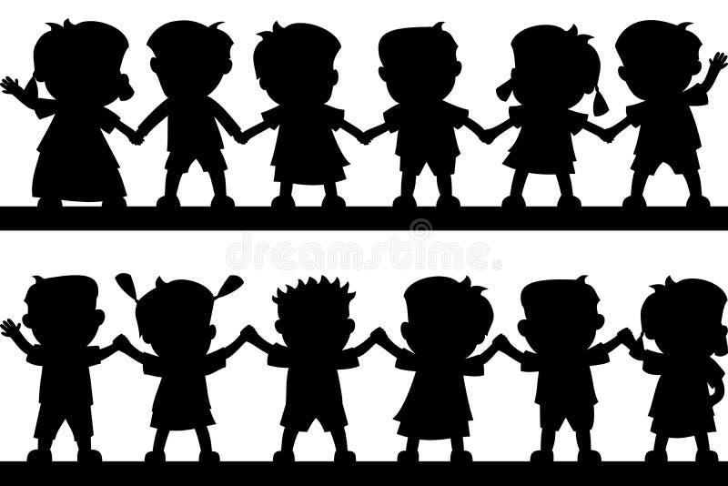 Silhouettes heureuses de gosses illustration stock