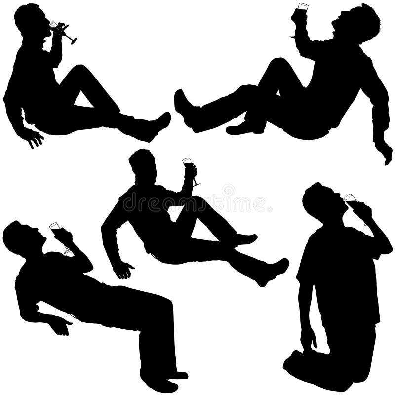 Silhouettes - homme potable 2 illustration libre de droits