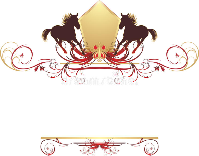 Silhouettes of horse on the stylish design royalty free illustration