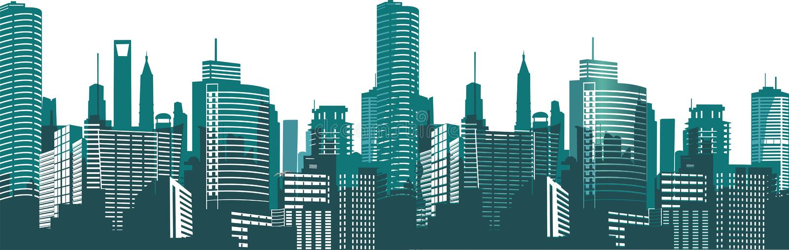 Silhouettes of houses of the city at night. Panorama of the metropolis. Illustration on white background royalty free illustration