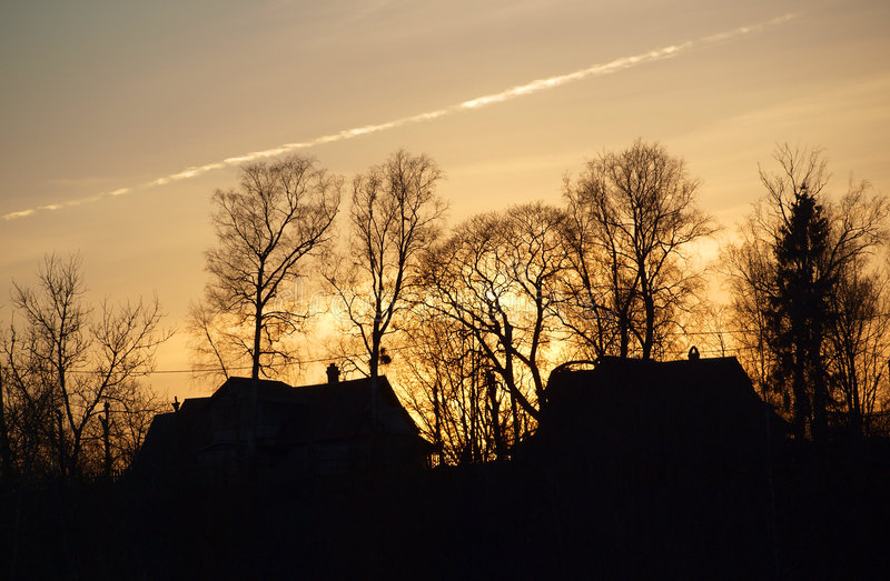 Download Silhouettes Of Houses And Trees Stock Photo - Image: 9144930