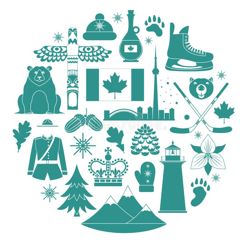 Silhouettes of icons on the theme of travel to Canada. Vector illustration. Silhouettes of famous Canadian symbols. Vector travel icons templates vector illustration