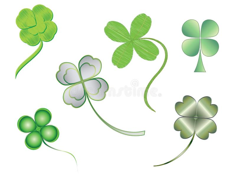 Silhouettes of illustrated four-leaf clovers royalty free stock photos