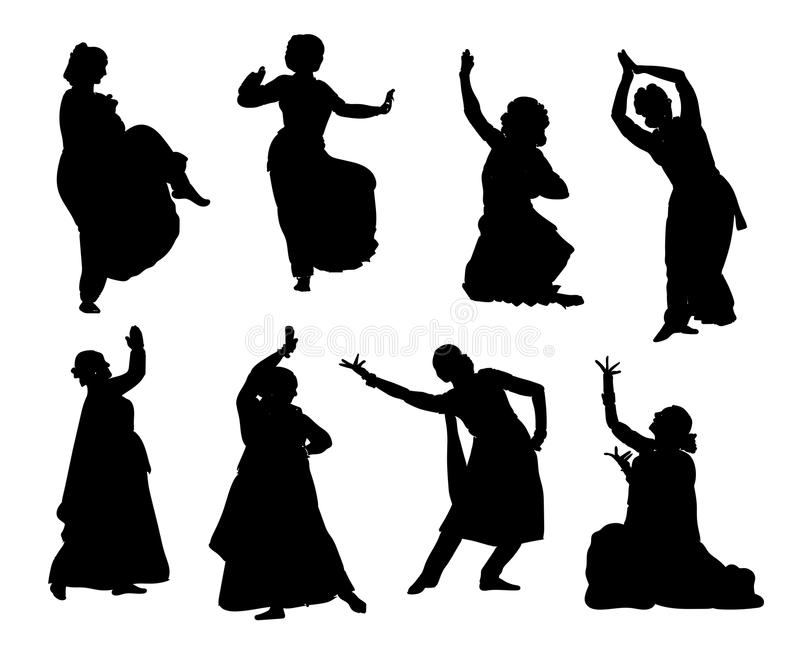 Silhouettes indian dancers. Black silhouettes of indian dancers. Vector stock illustration for design on white background royalty free illustration