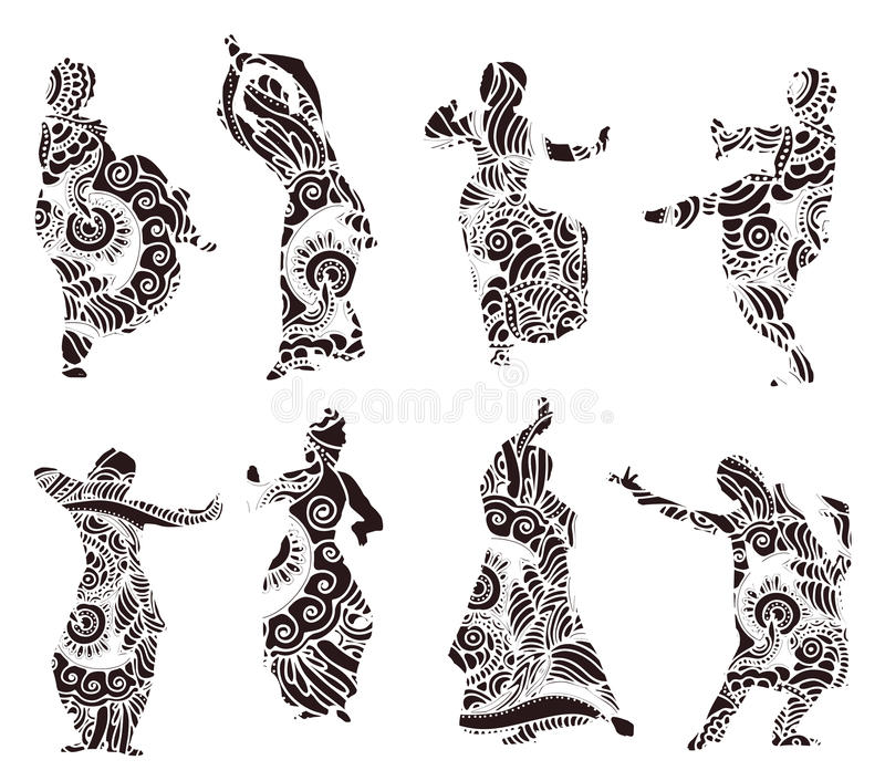 Silhouettes indian dancers in mehndi style. Black silhouettes of indian dancers in mehndi style. Vector stock illustration for design on white background vector illustration