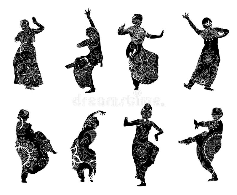Silhouettes indian dancers in mehndi style. Black silhouettes of indian dancers in mehndi style. Vector stock illustration for design on white background stock illustration