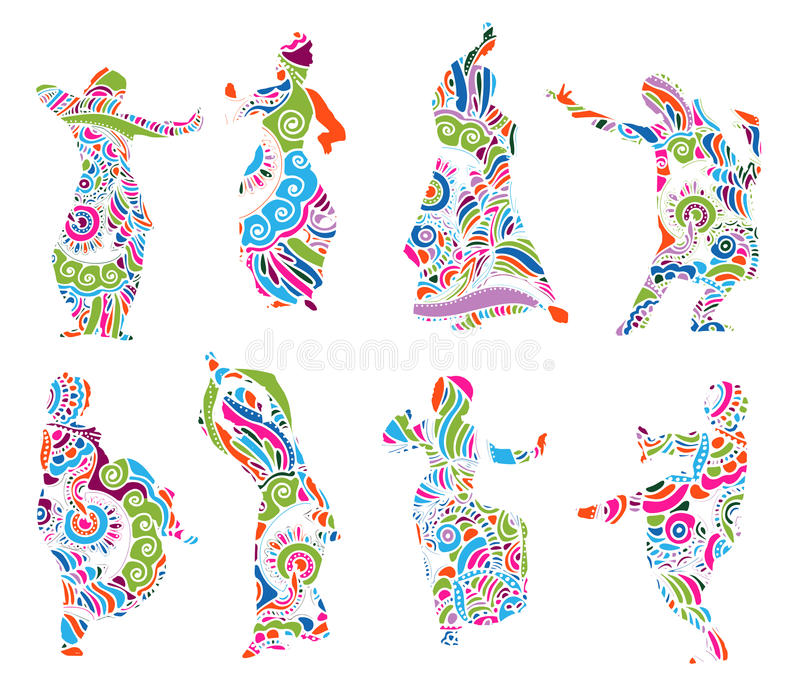 Silhouettes indian dancers in mehndi style. Color silhouettes of indian dancers in mehndi style. Vector stock illustration for design on white background royalty free illustration
