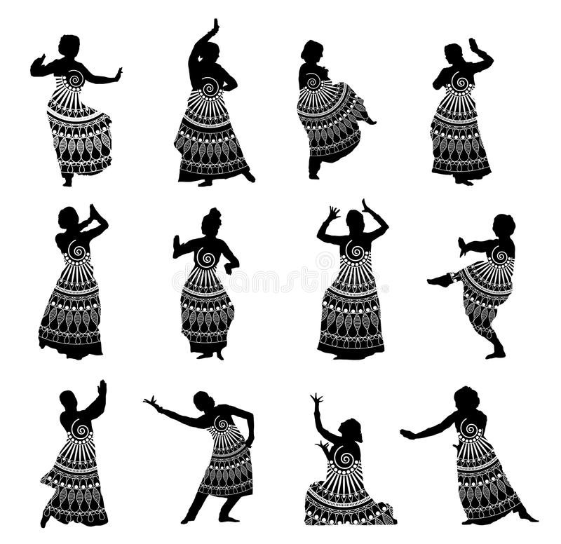 Silhouettes indian dancers in mehndi style. Isolated black silhouettes of indian dancers in mehndi style. Vector stock illustration for design on white royalty free illustration