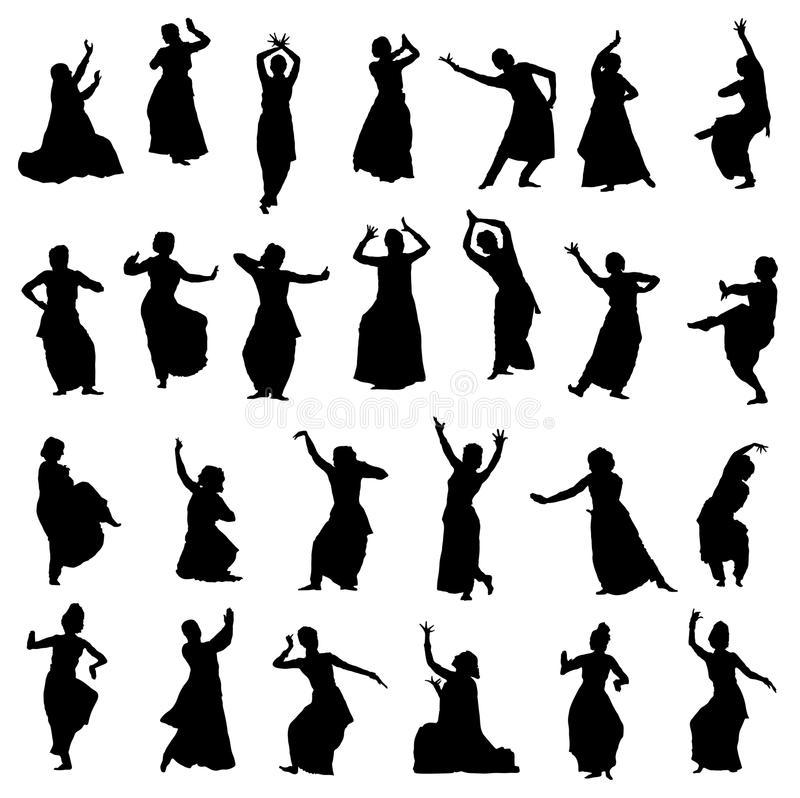 Silhouettes indian dancers. Silhouettes of indian dancers. Vector set stock illustration