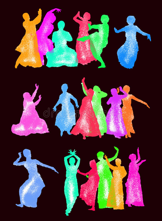 Silhouettes indian dancers. Vector set of isolated silhouettes indian dancers stock illustration