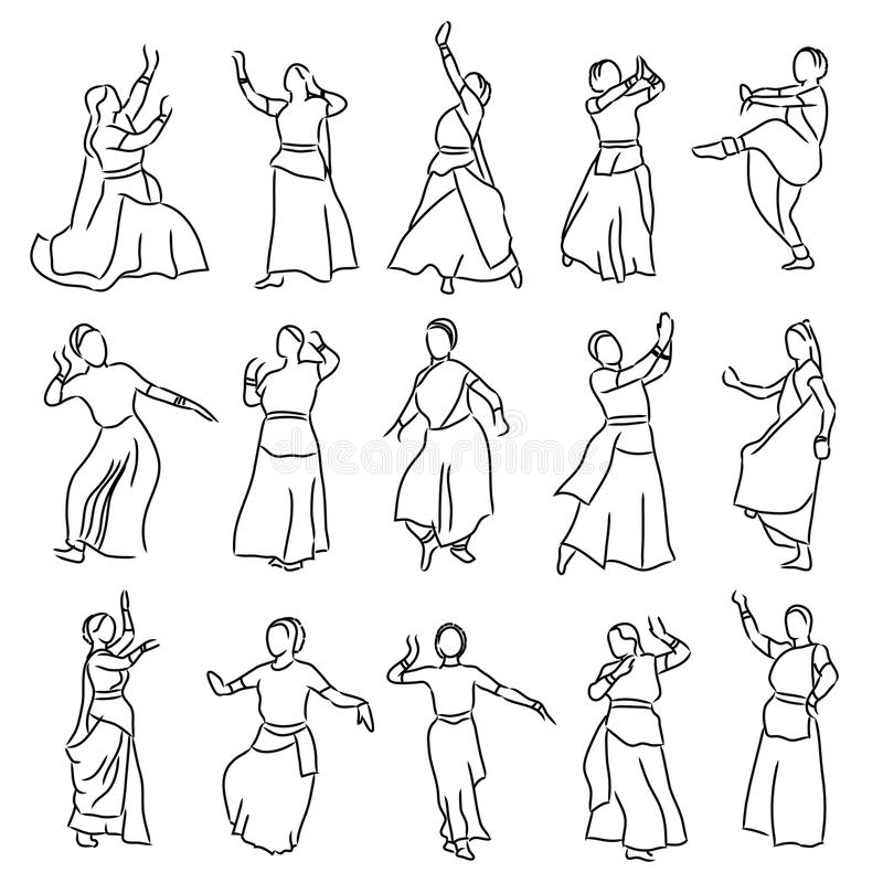Silhouettes indian dancers. Vector set of isolated contour silhouettes indian dancers royalty free illustration