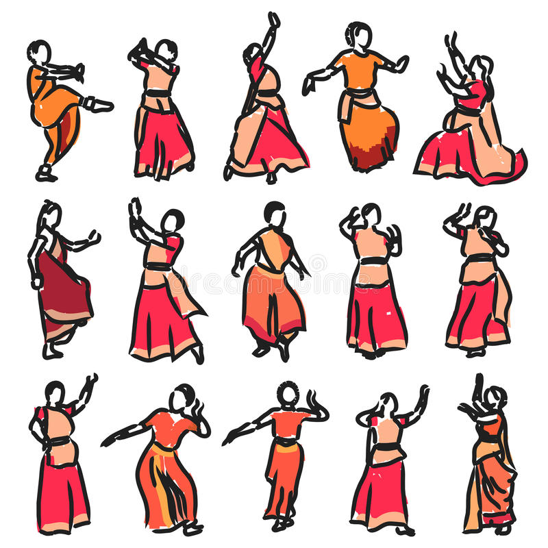 Silhouettes indian dancers. Vector set of isolated contour silhouettes indian dancers vector illustration