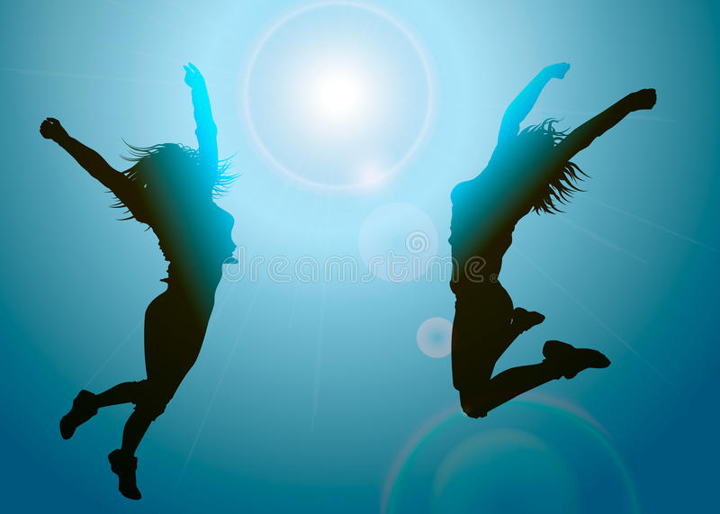 Download Silhouettes Of Jumping Girls Stock Vector - Image: 26495977