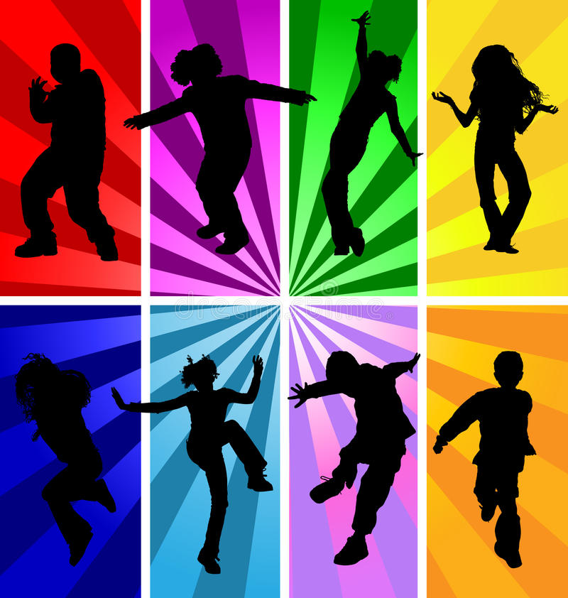 Jumping kids jump silhouettes silhouette child kid vector sport dancing dance teenagers children teens background disco teen party stock illustration