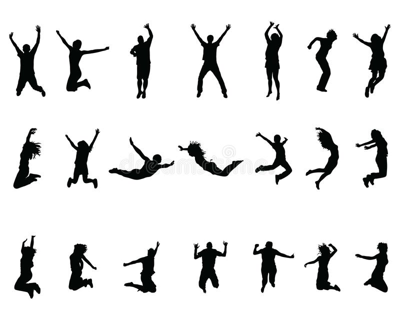 Silhouettes of jumping stock photos