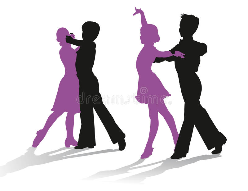 Silhouettes of kids dancing ballroom dance stock photos