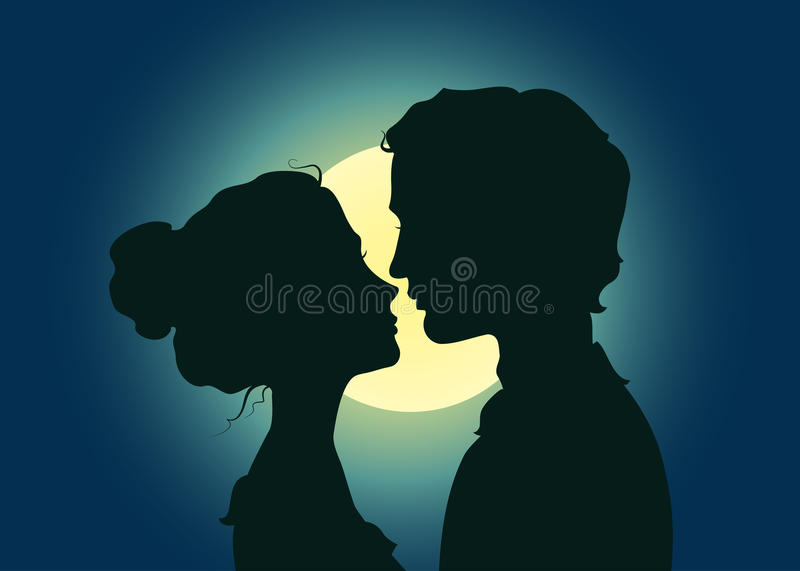 Silhouettes of kissing couple. In the moonlight stock illustration