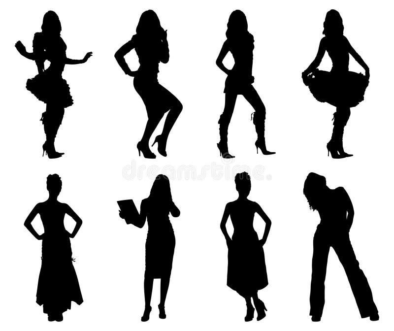 silhouettes kvinnan vektor illustrationer