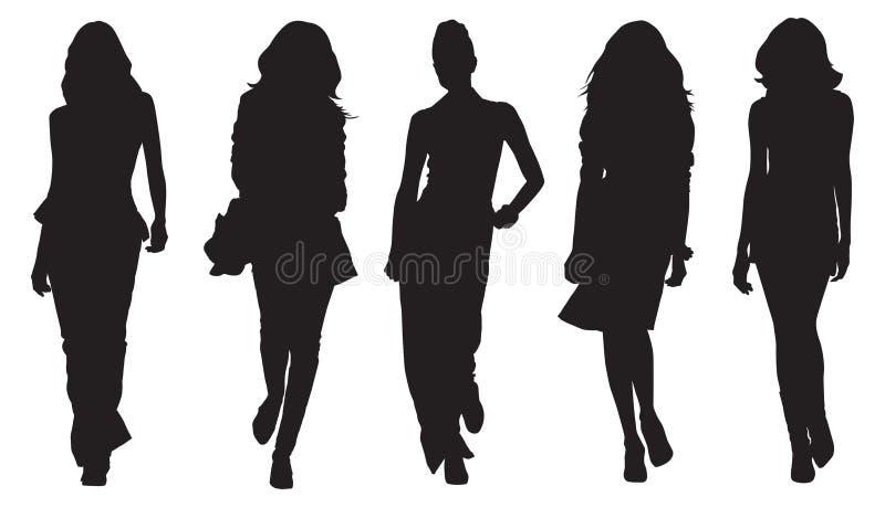 silhouettes kvinnor royaltyfri illustrationer
