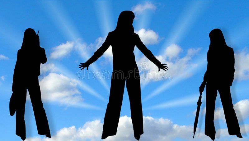Silhouettes of ladies and sky stock photo