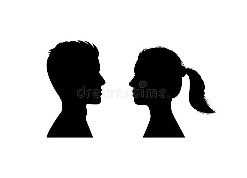 Silhouettes man och kvinnans huvud royaltyfri illustrationer
