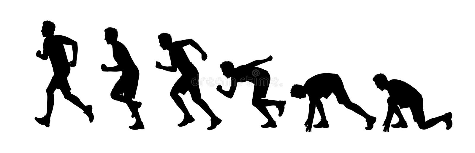 Silhouettes of a man starting running. Silhouettes of a young man starting running a marathon royalty free illustration