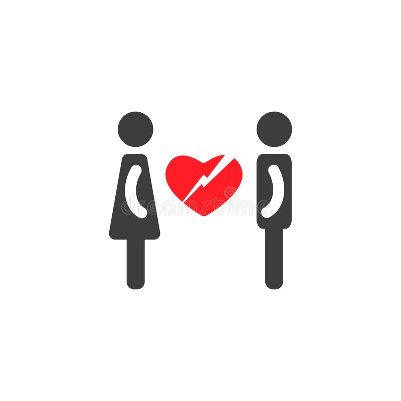 Silhouettes of man and woman with big red broken heart. Unhappy Love. couple simple icon. Isolated stock illustration