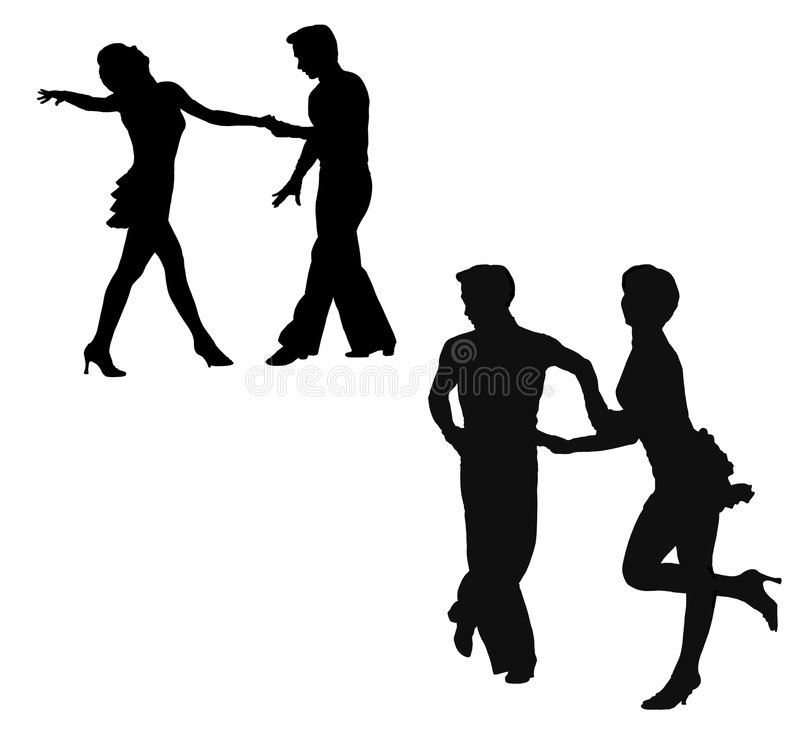 Silhouettes of the man and the woman, dancing jive royalty free illustration