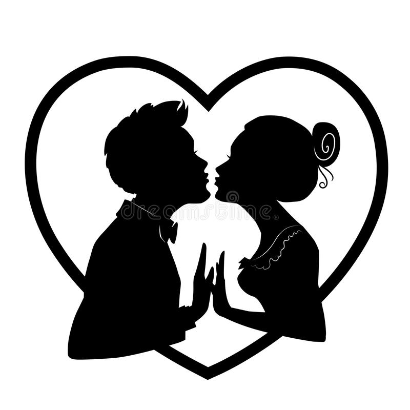 Silhouettes of man and woman merge into kiss for Valentines Day. Silhouettes of loving couple in heart. stock illustration