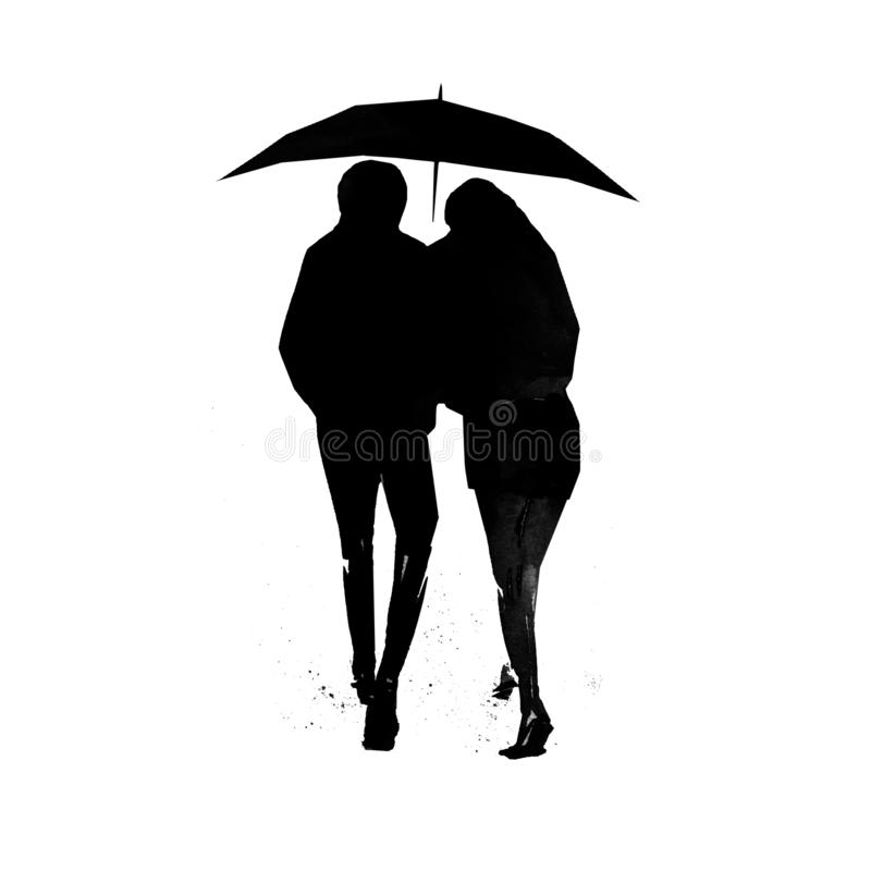 Silhouettes of man and woman under an umbrella vector illustration
