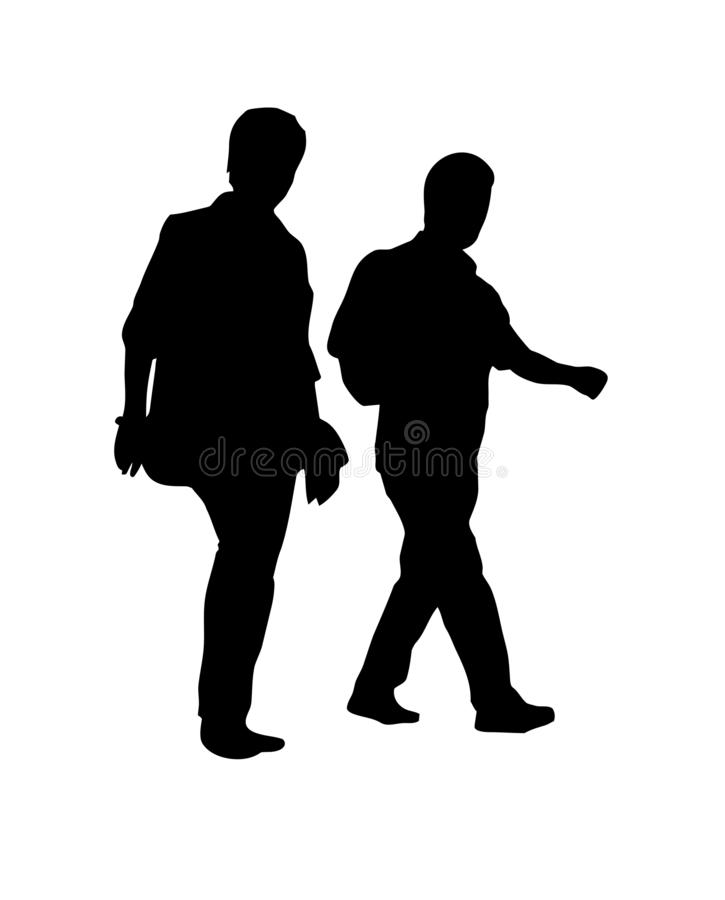 Silhouettes of man and woman walking royalty free illustration