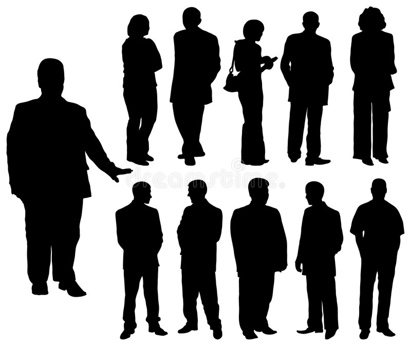 Silhouettes man and women, vector royalty free stock images