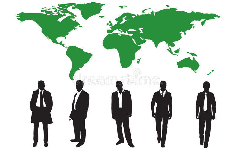 Silhouettes of many business people stock illustration