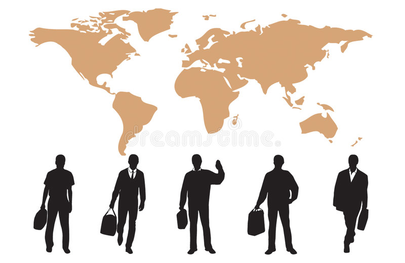 Silhouettes of many business people vector illustration